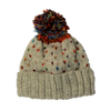 cream wool bobble hat with multi colour
