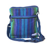 fair trade green purple striped gehri cotton cross body shoulder bag from Nepal