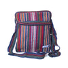 fair trade orange multi colourful striped gehri cotton cross body shoulder bag from Nepal