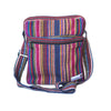 fair trade pink multi colourful striped gehri cotton cross body shoulder bag from Nepal