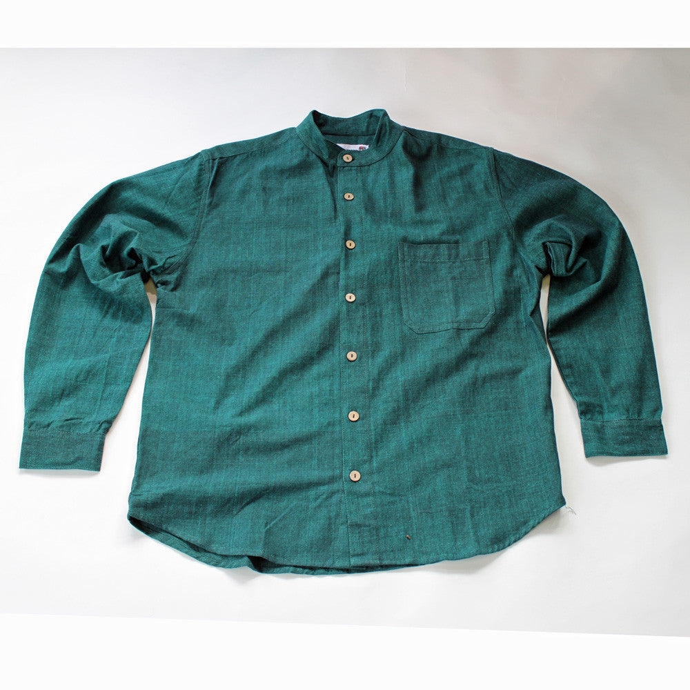 dark green men's grandad shirt