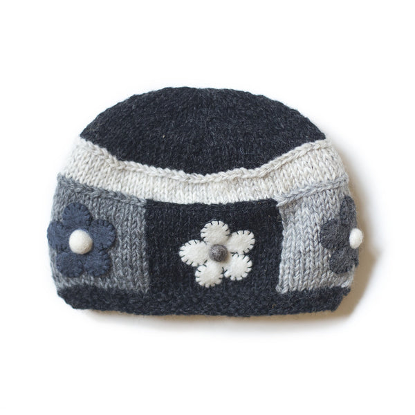 black grey monochrome wool beanie hat with felt flowers