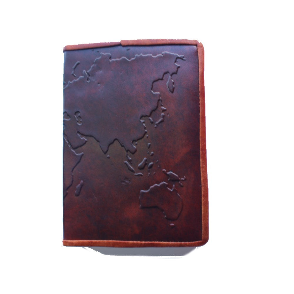 world map embossed leather journal from india