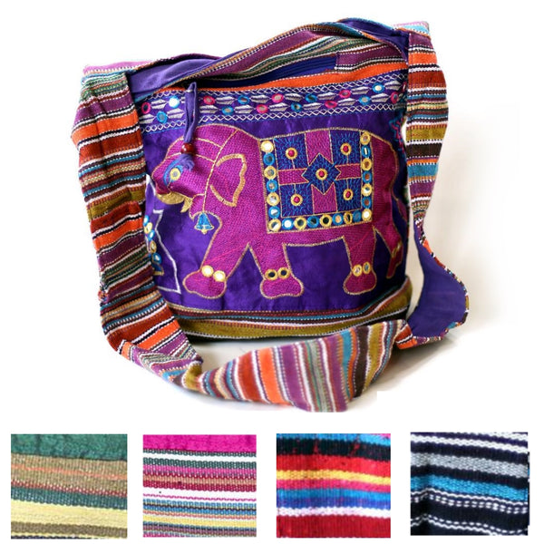 multiple colours of the embroidered elephant shoulder bag