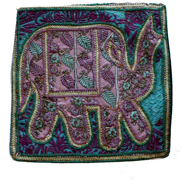embroidered indian fabric elephant cushion cover