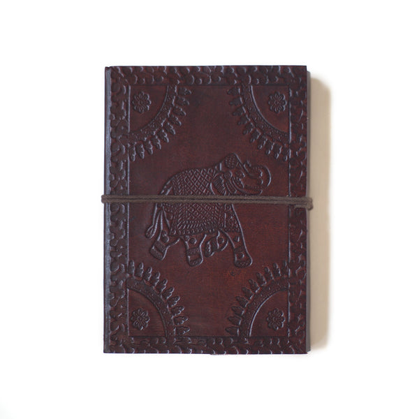 indian leather notebook handmade paper elephant string tie