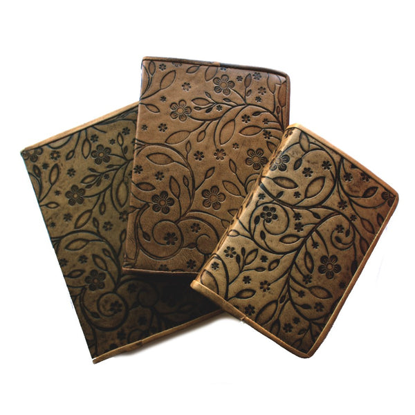 three sizes flower embossed leather journal