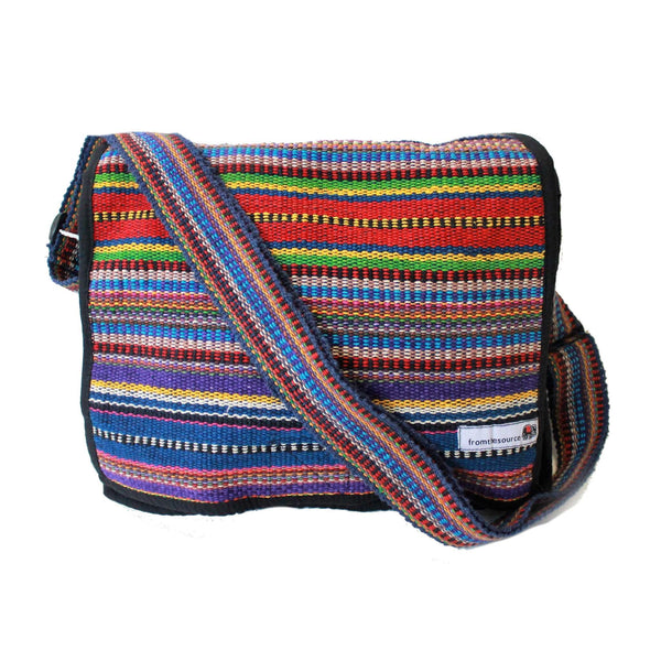 striped gheri nepal cotton day bag in blue multi colours