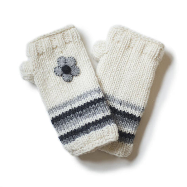 wool wrist warmers with felt flower