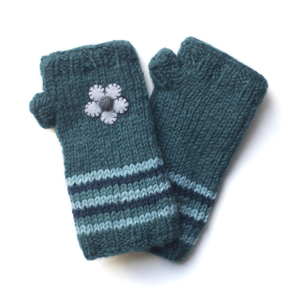 teal wool hand warmers with felt flowers