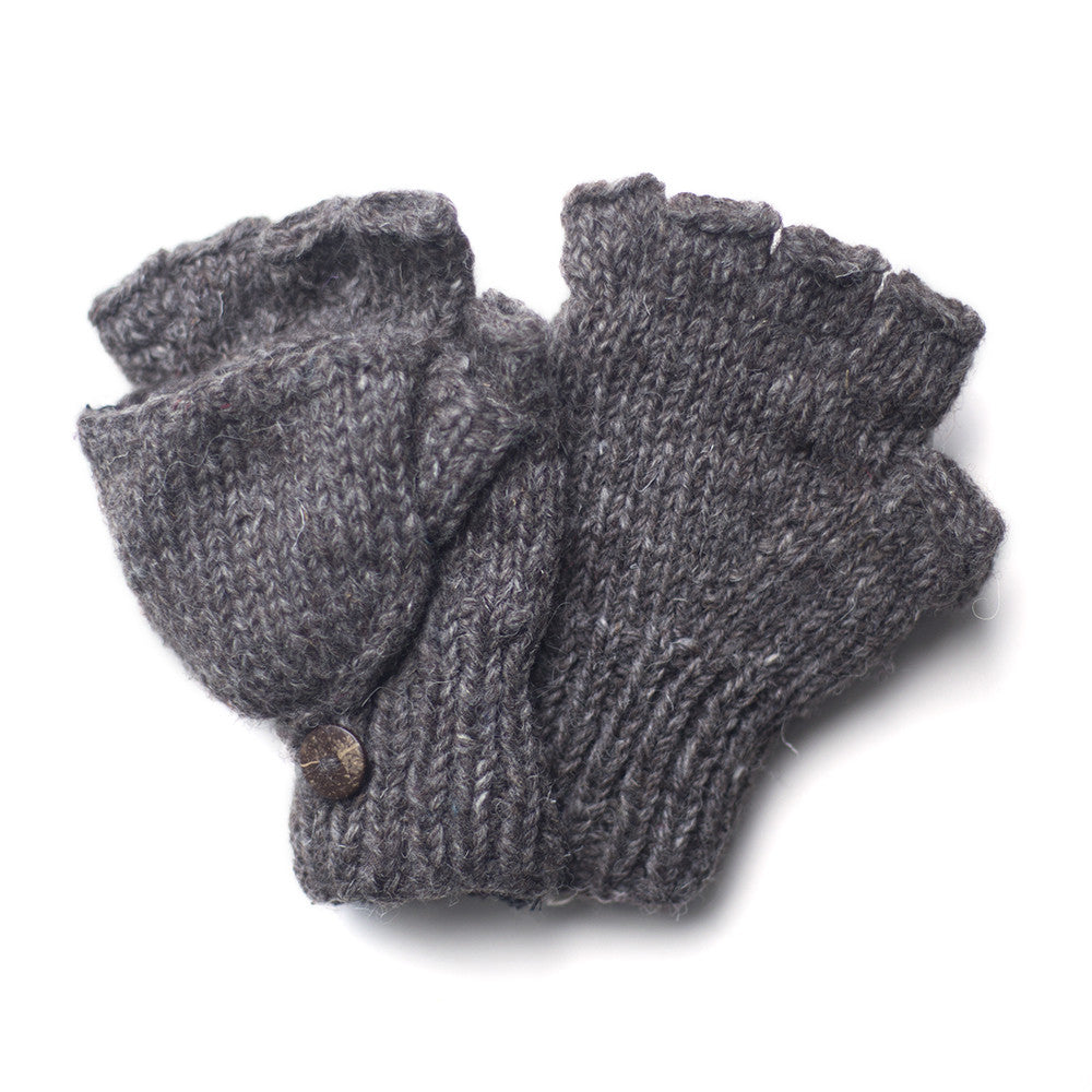 fair trade grey wool fingerless gloves