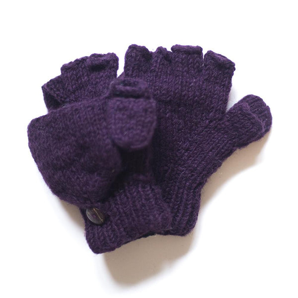 fingerless gloves with mitten flap in plain plum colour