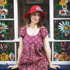 fair trade red sun hat with flowers