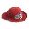 red flower handmade sun hat
