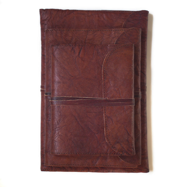 indian leather notebook handmade paper folded front string tie