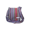 fair trade blue multi colourful striped gehri cotton four pocket shoulder bag from Nepal