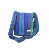 fair trade green purple colourful striped gehri cotton four pocket shoulder bag from Nepal