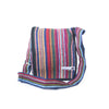 fair trade orange multi colourful striped gehri cotton four pocket shoulder bag from Nepal