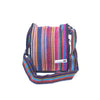 fair trade pink multi colourful striped gehri cotton four pocket shoulder bag from Nepal