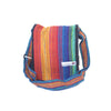 fair trade rainbow colourful striped gehri cotton four pocket shoulder bag from Nepal
