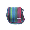 fair trade red turquoise colourful striped gehri cotton four pocket shoulder bag from Nepal