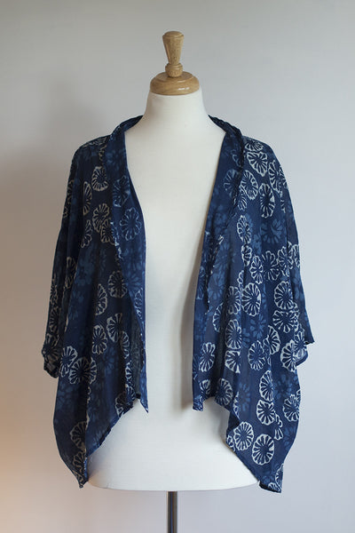 Indigo blue lightweight cotton shrug