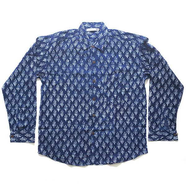 blue fair trade men's shirt block print India