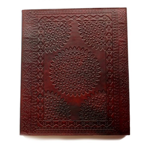Giant mandala embossed leather journal
