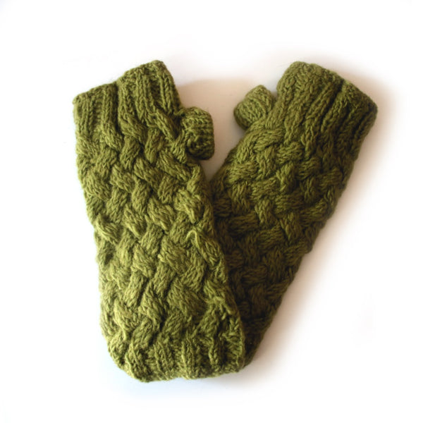green plait knit wool wrist warmers