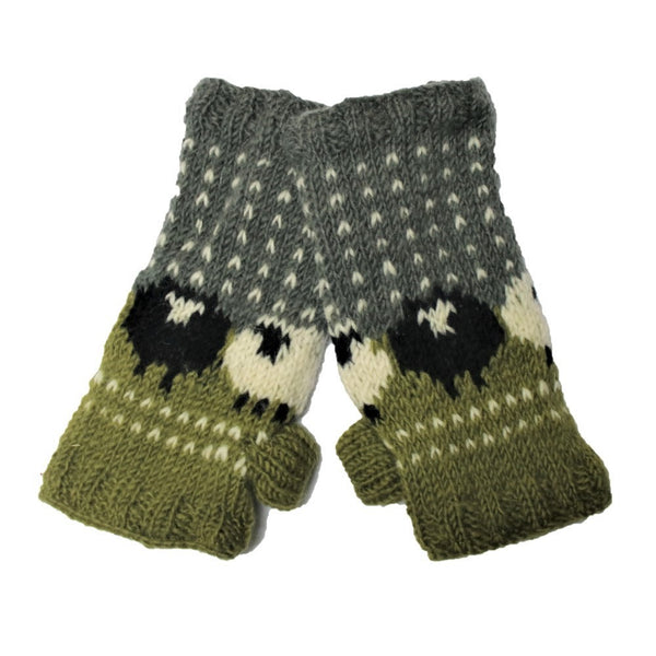 knitted wool sheep wrist wamers in green