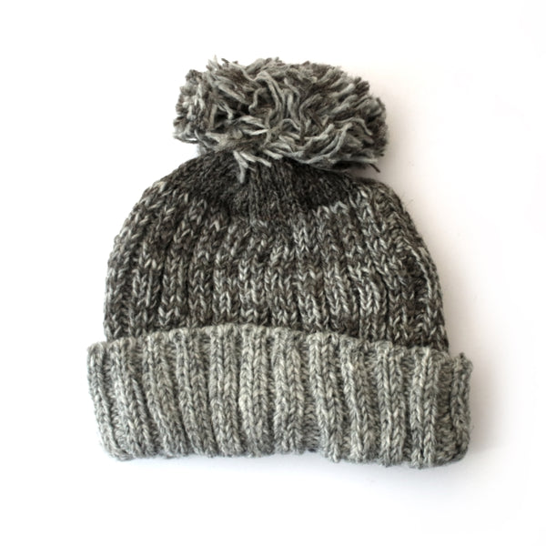 chunky knitted contrast brim bobble hat