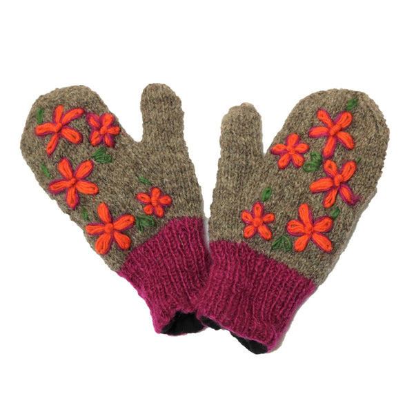 embroidered grey kintted wool mittens