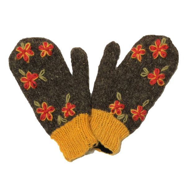 grey and mustard wool mittens