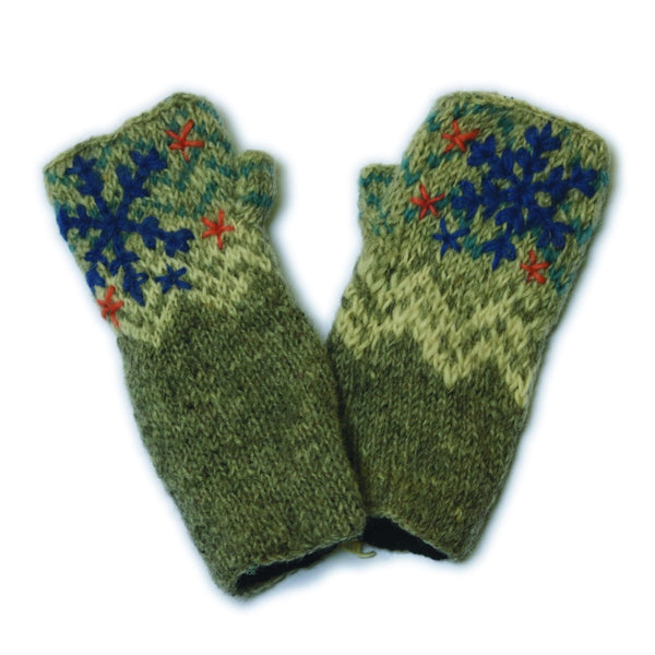 grey embroidered hand knitted wool wrist warmers