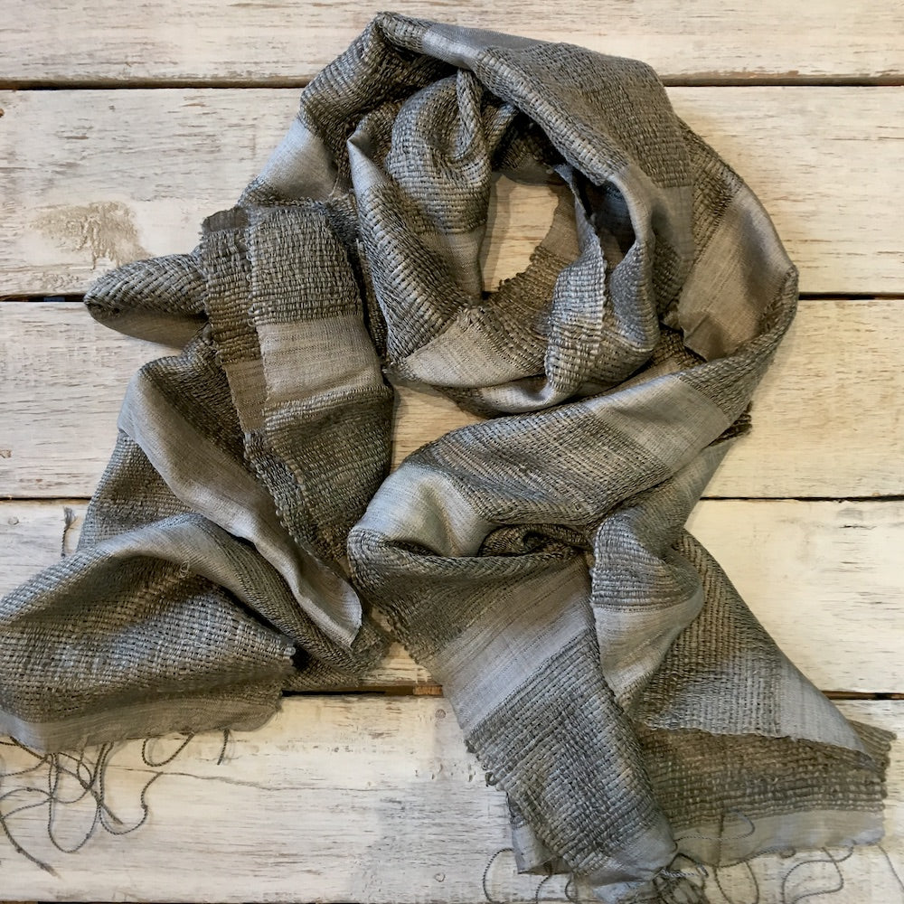 natural dye grey block stripe silk scarf