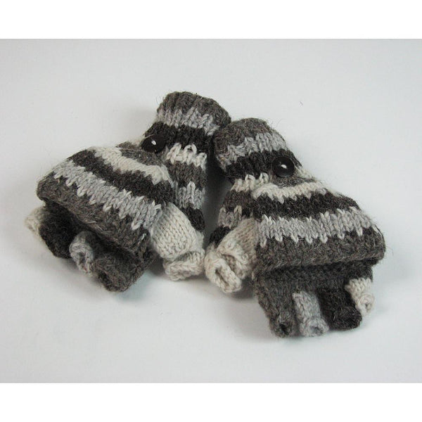 striped nordic grey fingerless gloves with mitten flap
