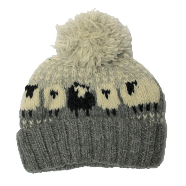 grey sheep design hand knitted bobble hat