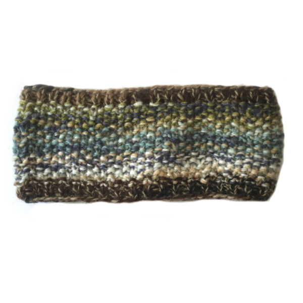 kelp green abstract knitted wool headband