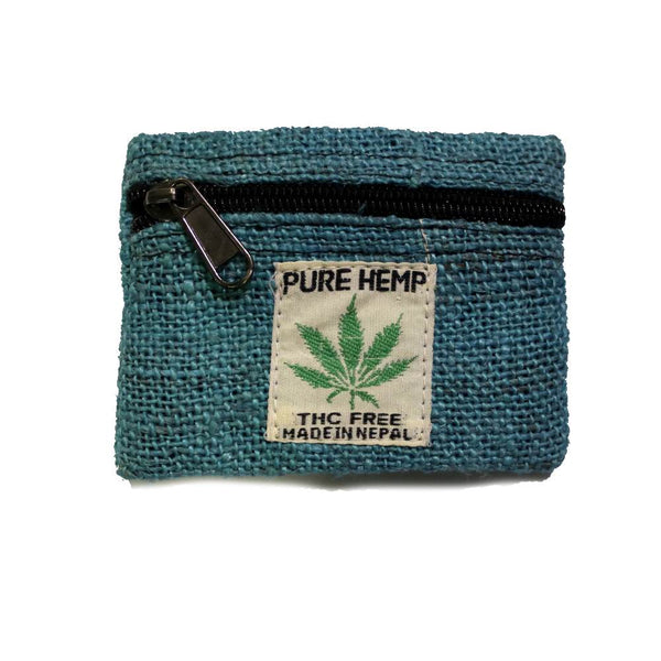 hemp coin purse in blue