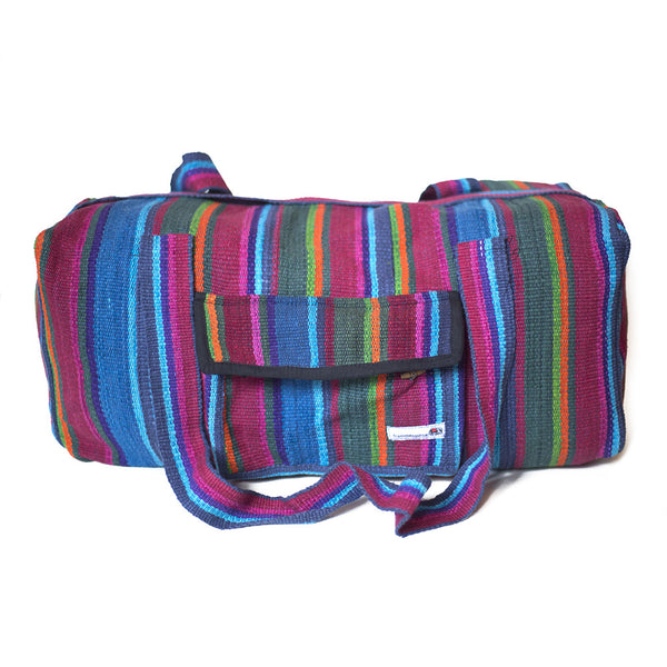 fair trade firelight colourful striped gehri cotton holdall bag from Nepal