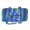 fair trade green purple colourful striped gehri cotton holdall bag from Nepal