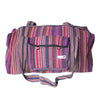 fair trade pink multi colourful striped gehri cotton holdall bag from Nepal