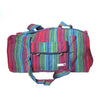 fair trade red turquoise colourful striped gehri cotton holdall bag from Nepal