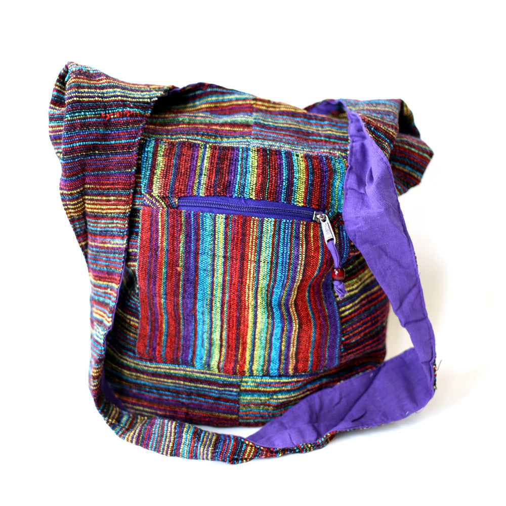multi coloured woven cotton shoulder sling bag