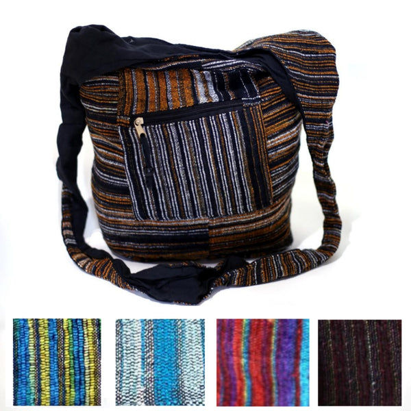 multiple variants of woven cotton shoulder sling bag