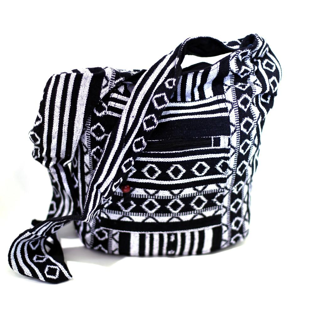black & white diamond cotton bag fairly traded from india