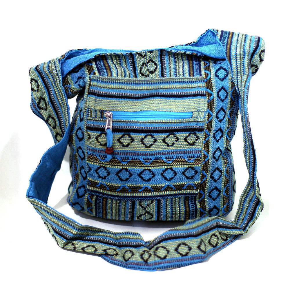 turquoise diamond canvas Indian shoulder bag