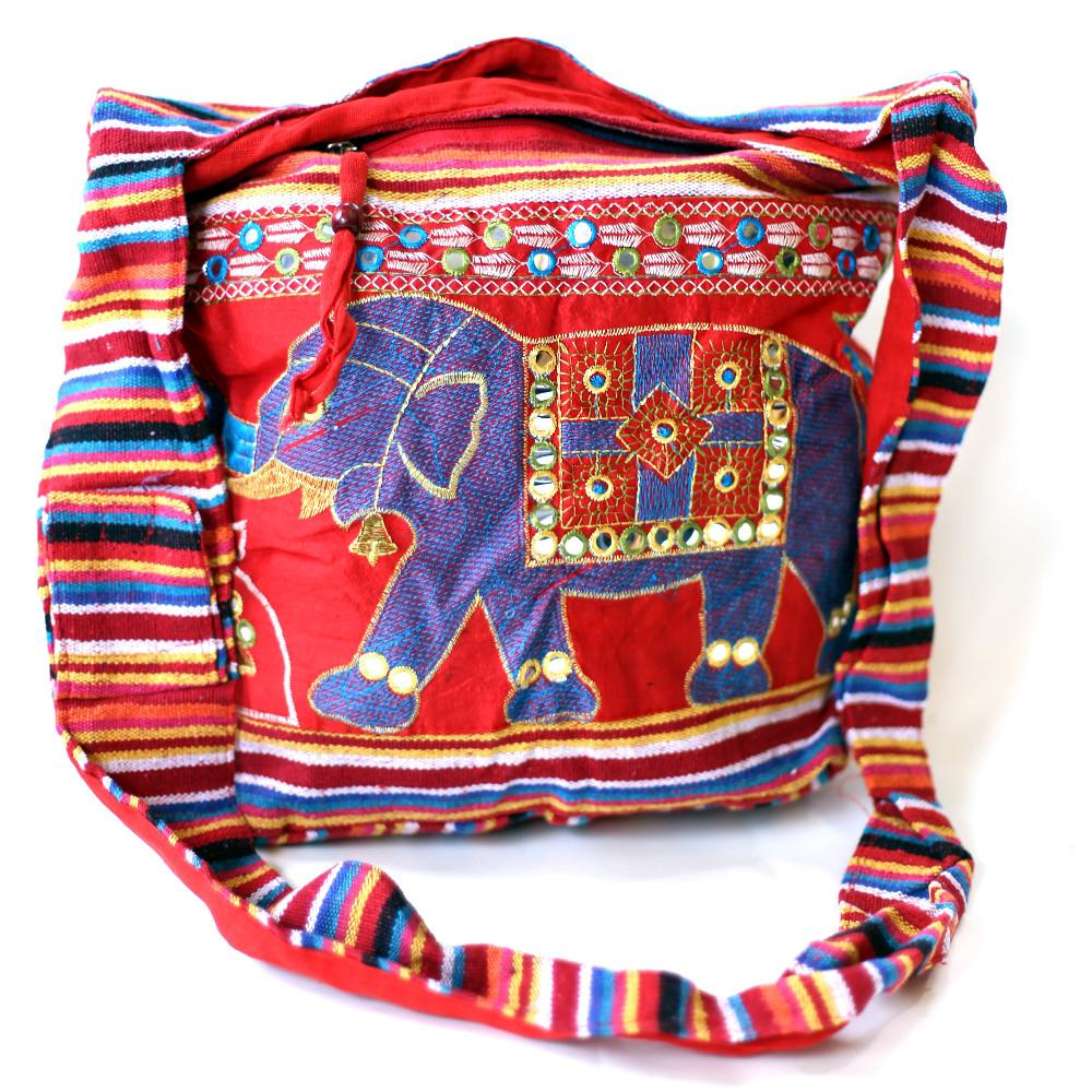 fair trade red elephant embroidered bag sourced from india