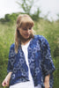 blue block printed shrug