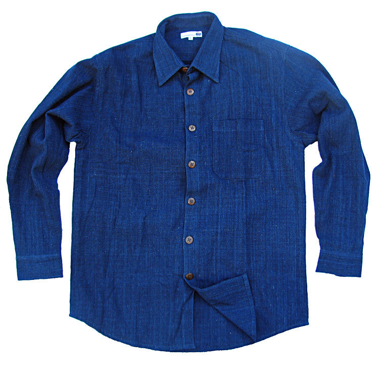 organic cotton men's shirt in natural indigo blue - long sleeved